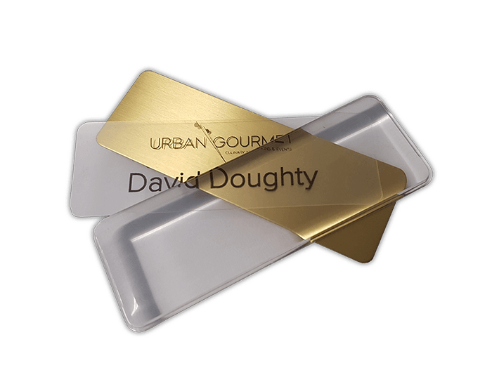 reusable name badge gold
